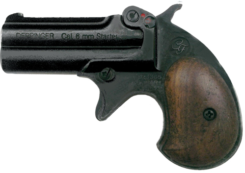 .22-cal. blank-fire Derringer, black with wood grips.