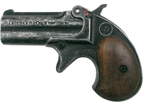 .22-cl. Blank-fire derringer, grey with wood grips.