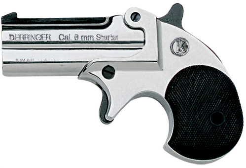 .22-cal. blank-fire derringer, nickel finish with black grips.