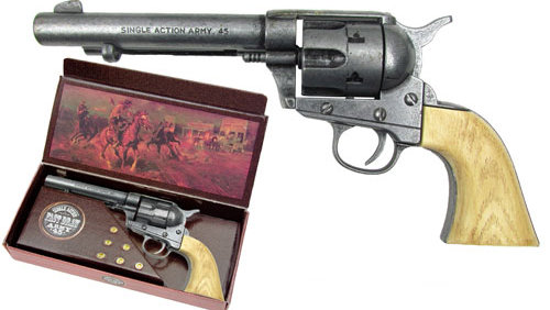 John Wayne cap-fire 6-shooter, grey, simulated ivory grip
